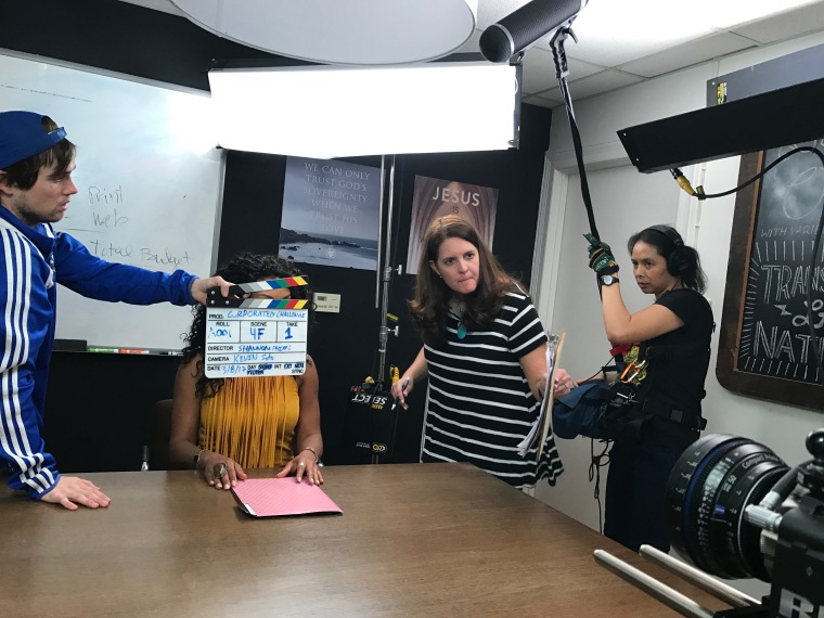 Shannon Phipps on set of Corporately Challenged promo
