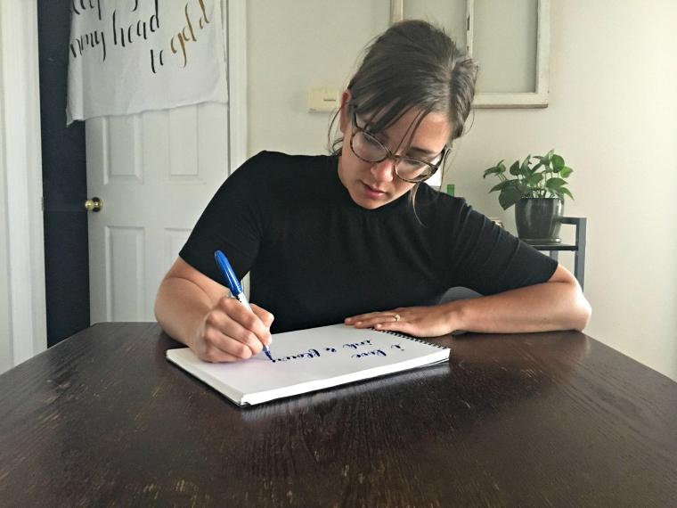 jess lundquist calligraphy artist at work